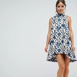 ASOS Floral Spot Jacquard A Line Dress Sz 14